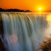 Vic falls in sunset